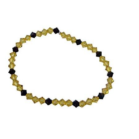Dark Jonquil Crystals & Jet Crystals Stretchable Bracelet