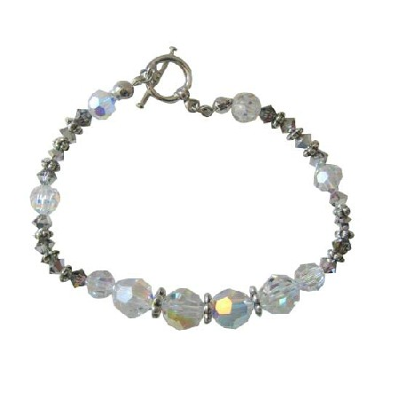 Ab Crystal Bracelet W Volcano Bali Silver Beads Toggle Clasp Bracelets
