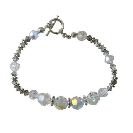 AB Crystal Bracelet w/ Volcano & Bali Silver Beads Toggle Clasp Bracelet Crystal Bracelets