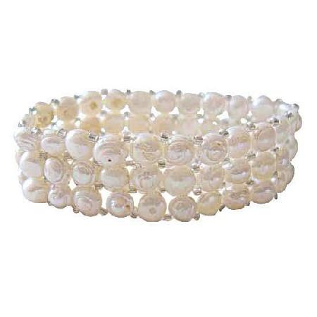 Three Stranded Cream Freshwater Pearls Stretchable Bracelet