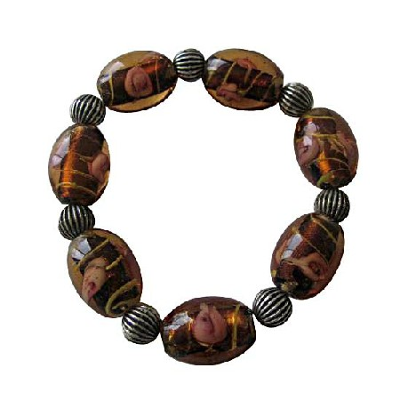 Topaz Glass Beads w/ Ethnic Oxidized Traditional Stretchable Bracelet