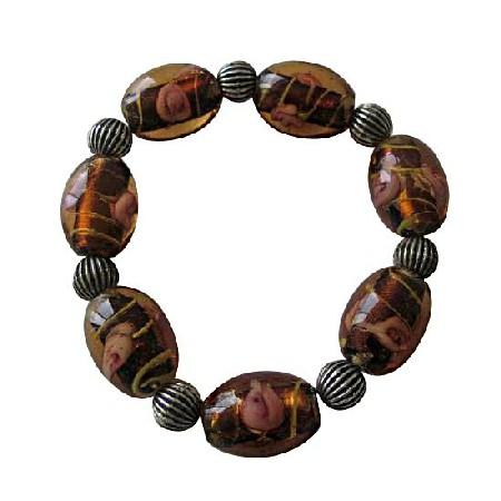 Topaz Glass Beads w/ Ethnic Oxidized Traditional Stretchable Bracelet