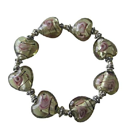 Heart Millefiori Venetian Glass Stretchable Bracelet w/ Silver Beads