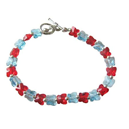 Aquamarine Siam Red Butterfly Crystal Butterfly Handcrafted Custom Jewelry