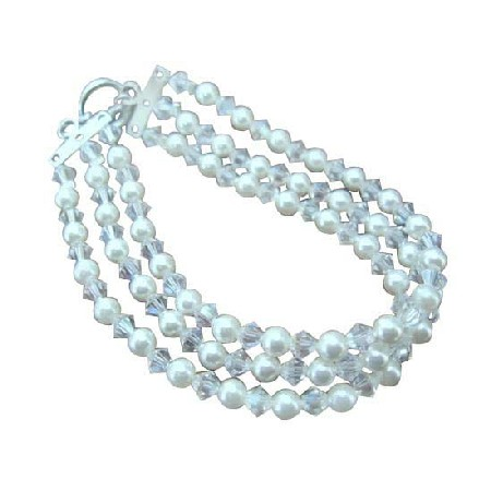 Three Stranded White Pearls & Moonlite Crystals Bracelet