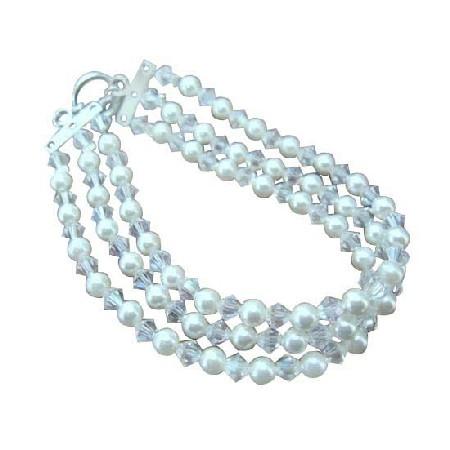 Three Stranded White Pearls & Moonlite Crystals Bracelet