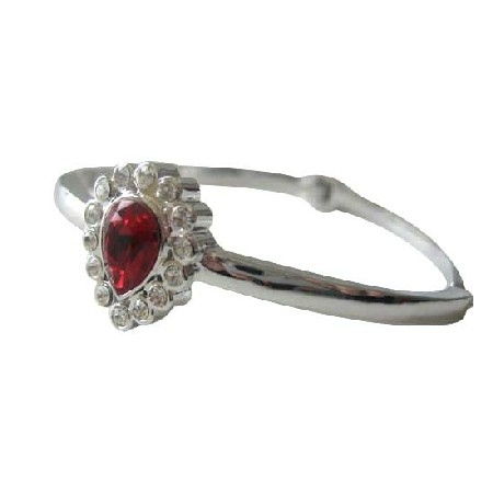 Siam Red Crystal Teardrop Rhodium Bracelet w/ Latch Clasp & CZ Bracelet