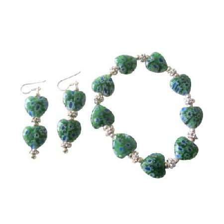 Heart Green Millefiori Venetian Glass Stretchable Bracelet w/ Earrings