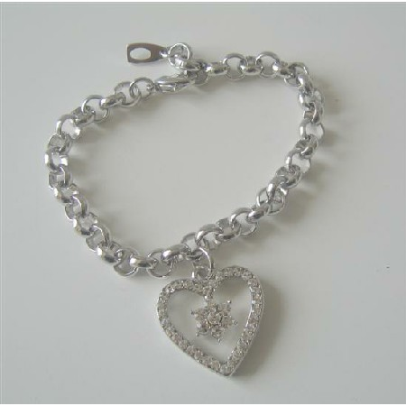 Cubic Zircon Heart Dangling Bracelet CZ Simulated Diamond Bracelet