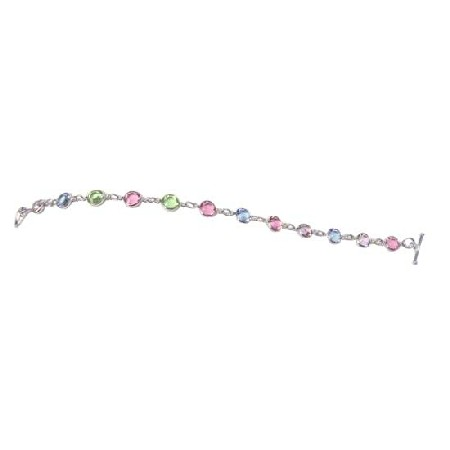 Multi Crystal Round Flat Crystal Bracelet w/ Toggle Clasp