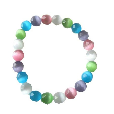 Multifaceted Colorful Cat Eyes 8mm Stretchable Bracelet