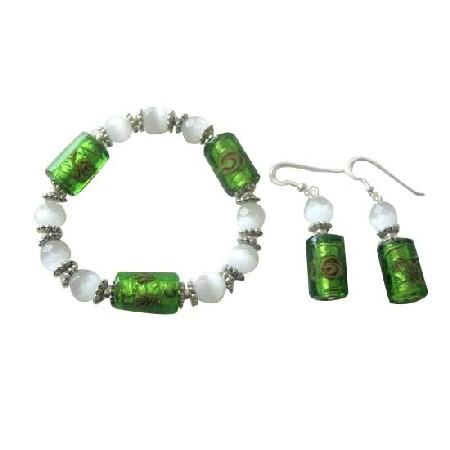 Multifaceted Opal Cat Eye VENETIAN Murano Glass Stretchable Bracelet