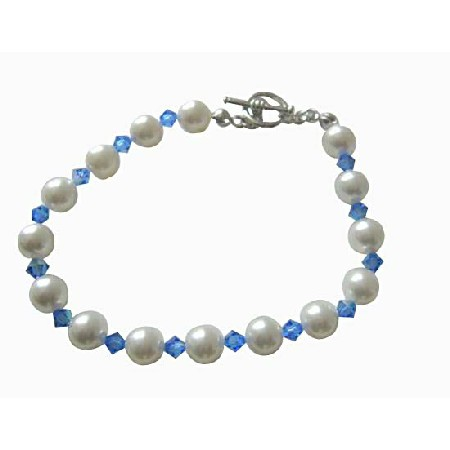 Sapphire Crystal w/ White Pearl Bracelet Handmade Pearls & Crystal