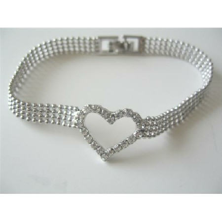 Heart Romantic Jewelry Cubic Zircon Heart Bracelet w/ Thick Beaded