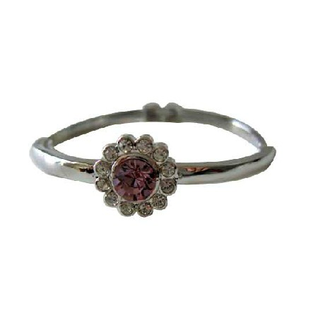 Amethyst Crystals Bangle w/ Cubic Zircon 7 inches Bracelet