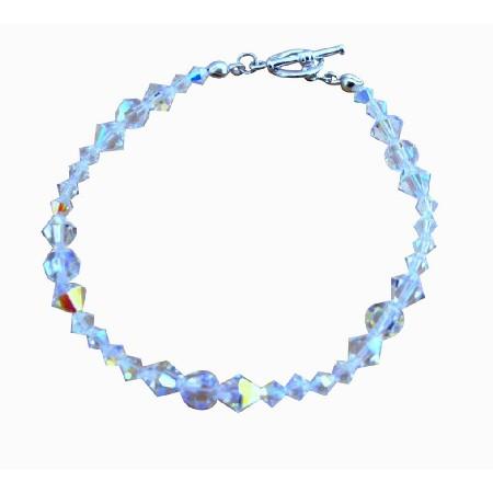 Bridal Bridesmaid Handcrafted Irredescent Crystals AB Crystal Bracelets Custom Bracelet