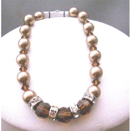 Bronze Pearls Smoked Topaz Crystals Bridesmaid Bracelets