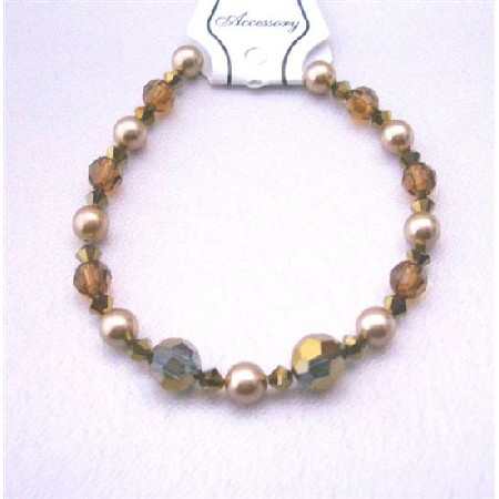 Irridescent Crystal Wedding Bracelet Espresso Crystals Dorado Smoked Topaz w/ Broze Pearls Crystals & Pearls