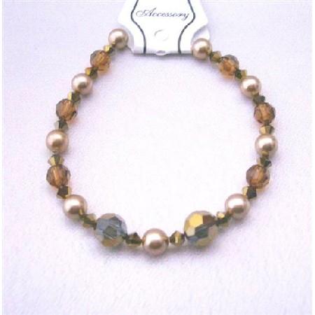 Irridescent Crystal Wedding Bracelet Espresso Crystals Dorado Smoked Topaz w/ Broze Pearls Crystals & Pearls