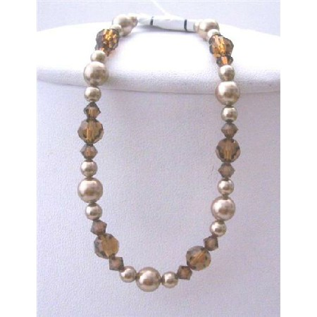 Bridesmaid Bronze Pearls Brown Crystal Bracelet Bronaze Pearls Smoked Topaz Crystals