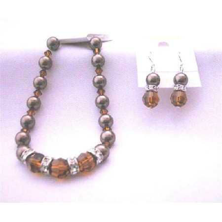 Chocolate Brown Pearl Bracelet Earrings Smoked Topaz Crystal & Brown Pearls