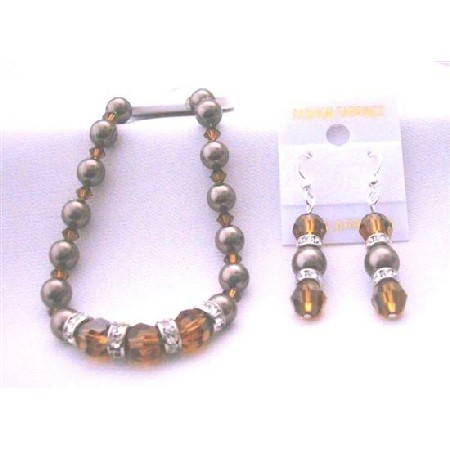 Chocolate Pearl Bracelet Earrings Smoked Topaz Crystal & Brown Pearls