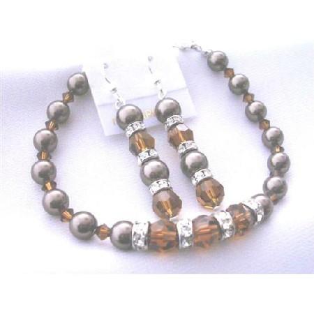 Chocolate Pearl Bracelet Earrings Smoked Topaz Crystal & Brown Pearls