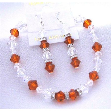 Burnt Orange Crystal & Clear Crystal Bracelet Earrings Crystal w/ Silver Rondells