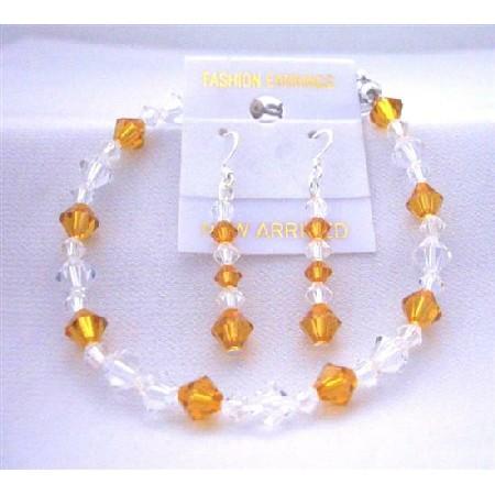 Wedding Jewelry Bracelet & Earrings Set w/ Topaz & Clear Crystal w/ Silver Rondells