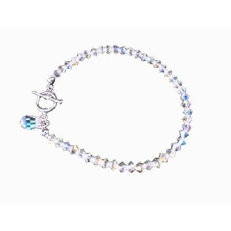 AB Crystal Teardrop Bridal Bracelet Handcrafted Custom Bracelet
