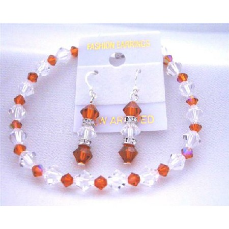 Bridemaides Bracelet & Earrings Set w/ Burnt Orange & Clear Crystal w/ Silver Rondells