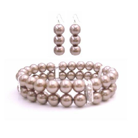 Bridesmaid Bracelet & Earrings Simulated Brown Pearl Double Stranded Stretchable w/ Silver Rondells