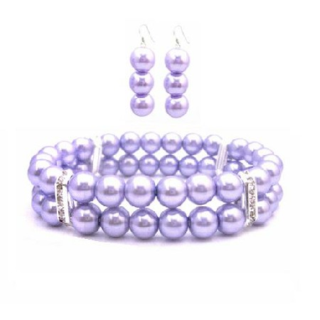 Lavender Pearls Bridesmaid Bracelet & Earrings Simulated Lavender Pearl Double Stranded Stretchable w/ Silver Rondells