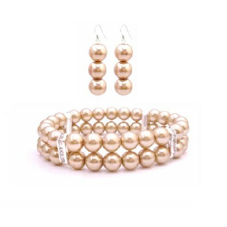 Golden Champagne Pearls Bracelet & Earrings Simulated Golden Pearl Double Stranded Stretchable w/ Silver Rondells