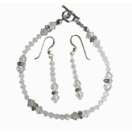 Clear Irridscent Crystal Bridal Bracelet & Earrings Set w/  Clear Crystal & Silver Rondells
