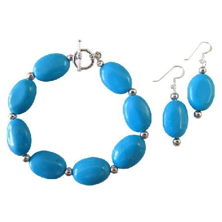 Turquoise Oval Beads Bracelet Earrings Silver Beads Spacer Bracelet