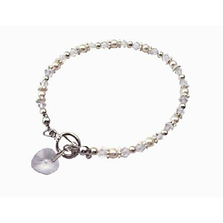 Heart Charm Clear Irridscent Crystal w/ White Pearls And Bali Silver Bridal Flower Girl Bridesmaid Bracelet