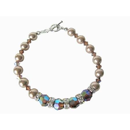 Bronze Pearl AB 2X Smoked Topaz Pearl & Crystals Bracelet Bridal FlowerGirl Bridesmaid Bracelet