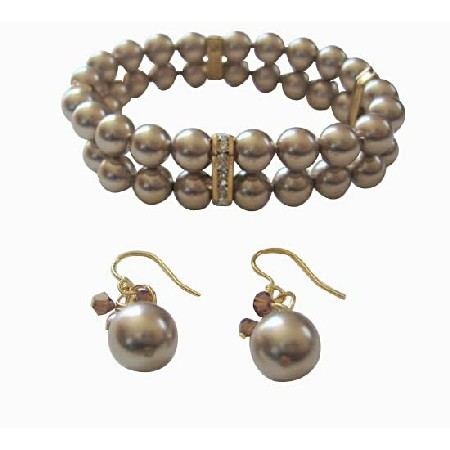 Double Strands Bronze Pearls Stretchable Bracelet Earrings
