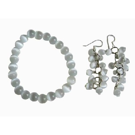 White Cat Eye 8mm Bracelet Stretchable & Earrings