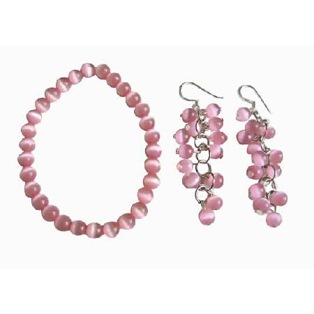 Pink Cats Eye Stone Bead Beaded Dangle Hook Earrings Stretch Bracelets