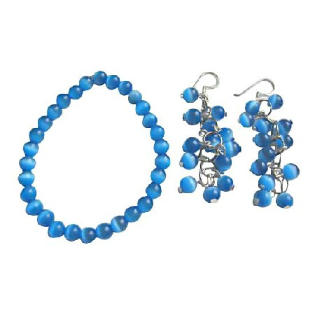 6mm Dark Blue Glass Cats Eye Stone Bead Dangling Earrings Bracelet