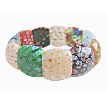 Self Designed Striking Stretchable Bracelet Millefiori Bracelet