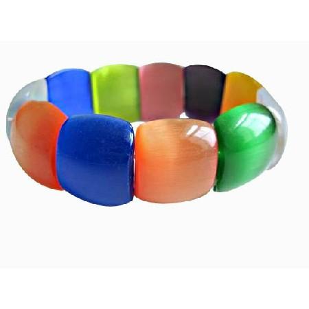 Colorful Stunning Millifiori Beads Stretchable Bracelet