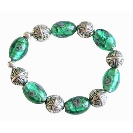 Painted Millefiori Beaded Stretchable Bracelet Ethnic Silver Bracelet