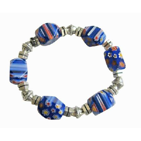 Millefiori Blue Beads Stretchable Bracelet w/ Different Shape & Size