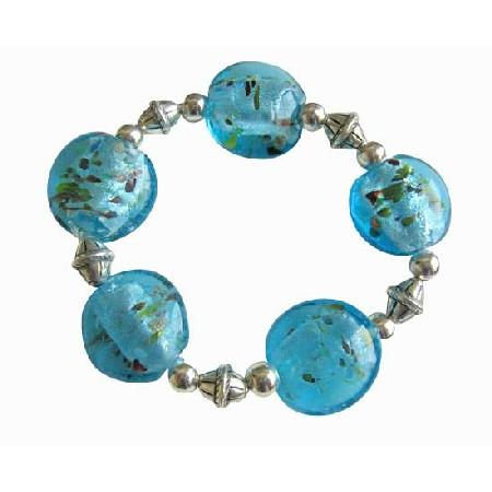 Ethnic Bali Silver Spacer Millefiori Oval Blue Stretchable Bracelet