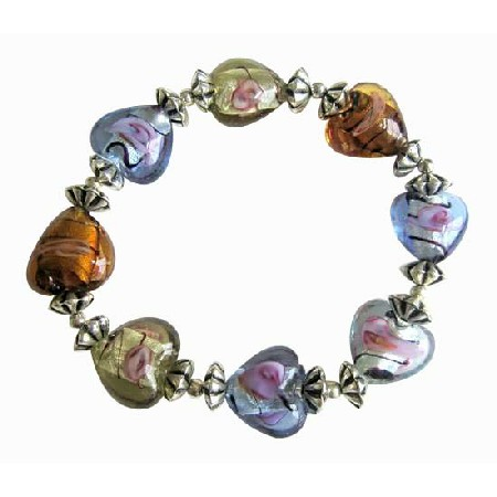 Multi Colored Heart Stretchable Bracelet Bali Silver Spacer Bracelet