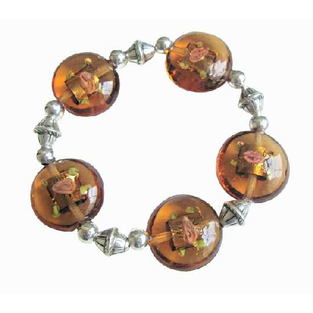 Tribal Traditional Ethnic Brown Oval Millefiori Stretchable Bracelet
