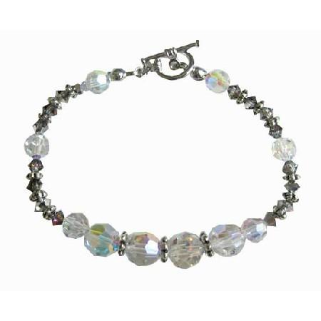 AB Volcano Crystals Bali Silver Spacer Bridesmaid Bracelet